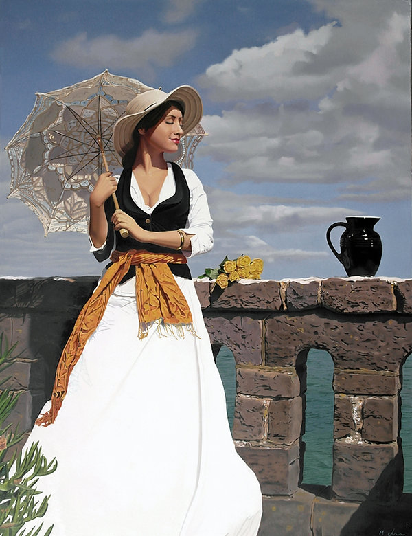 Oil Painting Michael de Bono Fine Art realism beautiful woman with parasol by wall