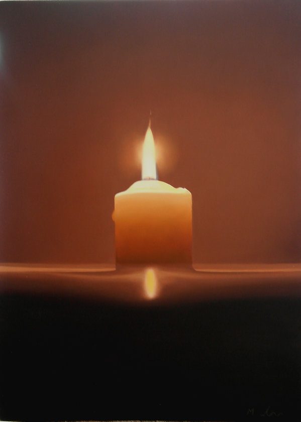 oil painting of a candle