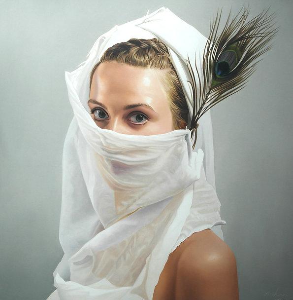painting by Michael de Bono artist woman wearing a white veil oil painting photo realism portrait contemporary fine art