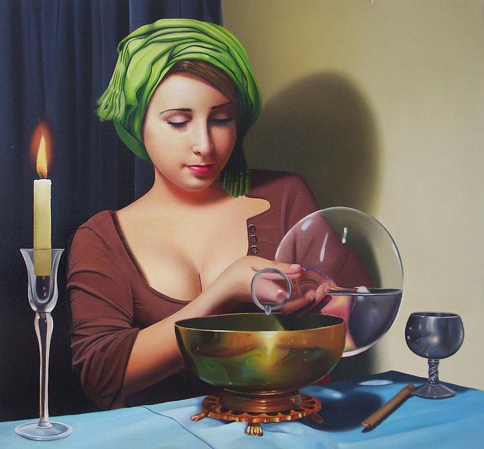 Oil Painting Michael de Bono Fine Art realism woman wearing a green headdress