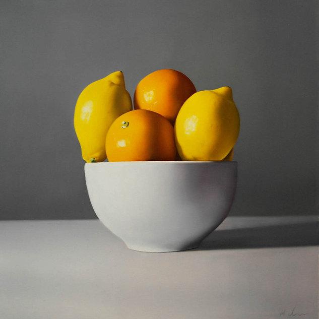 Oil painting Michael de Bono realism oranges and lemons in a bowl art