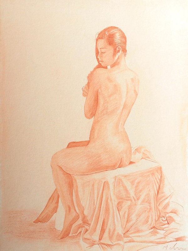 drawing of lady realism contemporary art red Conté