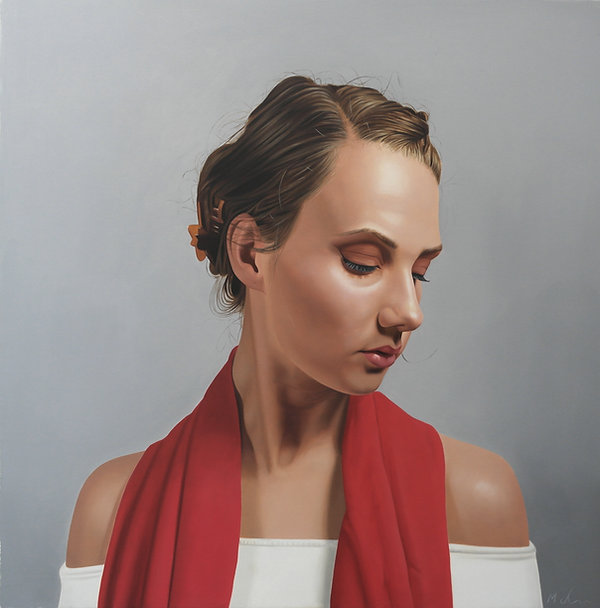 painting by Michael de Bono artist woman wearing a red scarf portrait realism painting contemporary fine art