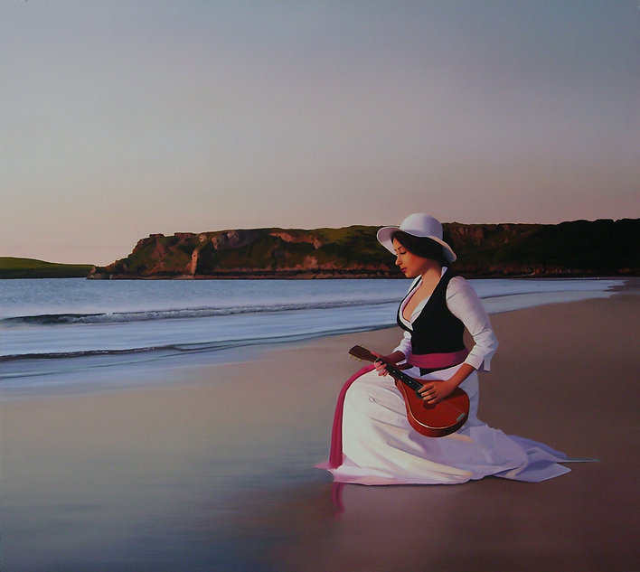 oil painting of a woman at the beach for sale