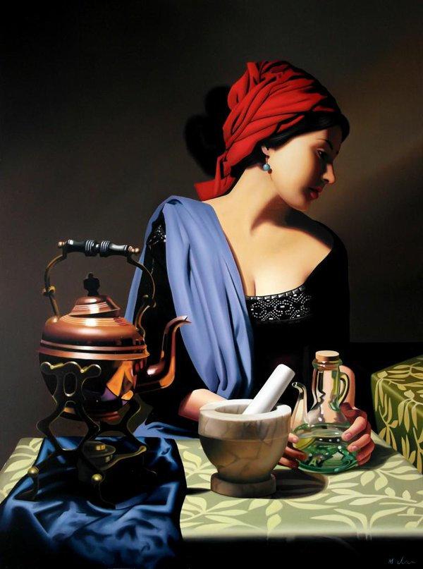 Oil Painting Michael de Bono Fine Art beautiful woman realism renaissance