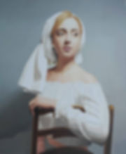 painting by Michael de Bono artist woman wearing a white headdress oil painting contemporary fine art