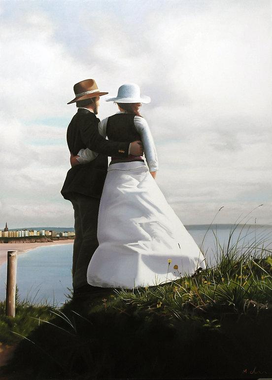 Oil Painting Michael de Bono Fine Art realism painting couple standing at seashore