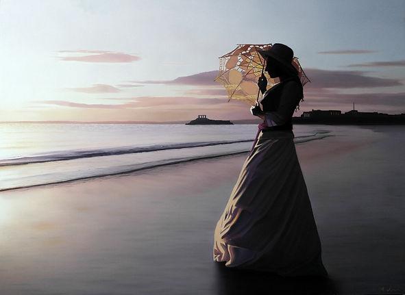 Oil Painting Michael de Bono Fine Art woman with parasol realism