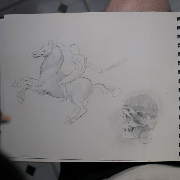 A drawing of a horse and skull realism fine art