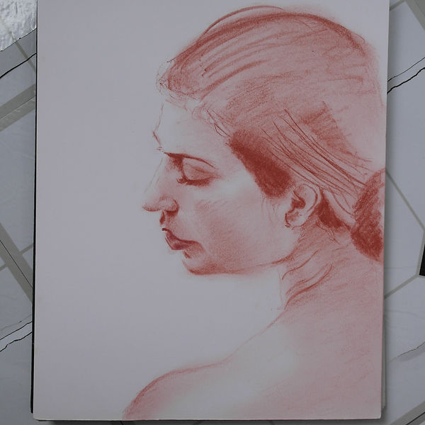 Drawing in red chalk of a woman