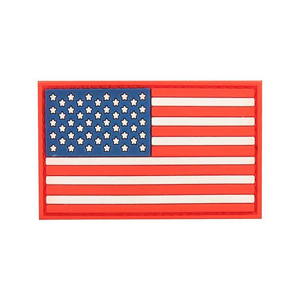 6491 Us Flag PVC Patch With Hook Back: Red, White & Blue