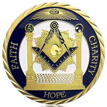 6199 GOLD PLATED MASTER MASON FREEMASON CHALLENGE COIN