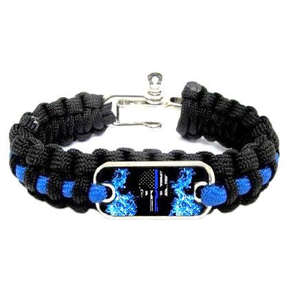6512 Blue Line Punisher US Flag Paracord Wristband