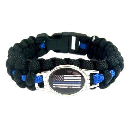 6507 Blue Lives Matter Round Tag Survival Bracelet