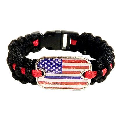 6508 Thin Red Line US Flag Paracord Bracelet