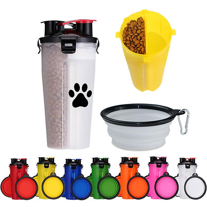 6336 2-in-1 Portable Pet Food & Water Bottle with Collapsible Bow