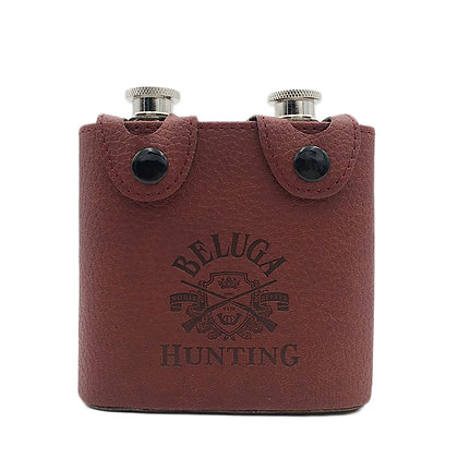 6269 Leather 6oz Hip Flask / Two 3 oz Flasks in Case