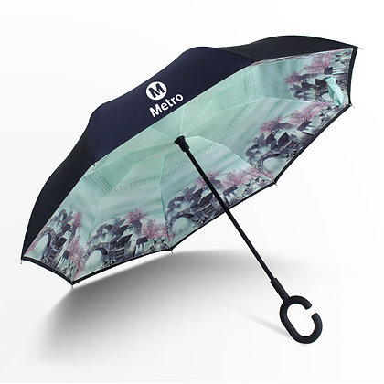 6356 Reverse Folding Umbrella Windproof UV Protection 48''