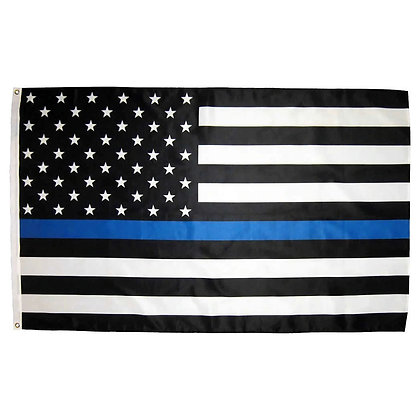 6444 Thin Blue Line American Flag 3ft x 5ft Polyester Embroidered