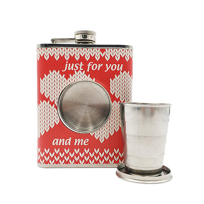 6252 8 oz Hip Flask with a Built-in Collapsible Shot Glass