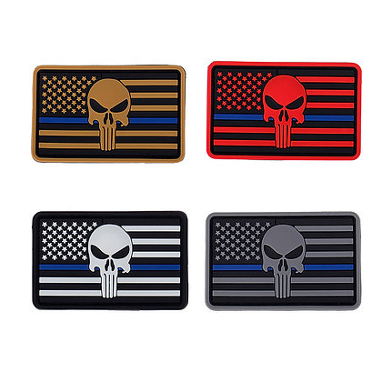 6488 Punisher Skull Thin Blue Line American Flag Patch (PVC)