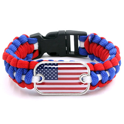 6510 American Flag Tag Paracord Bracelet