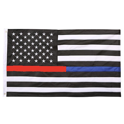 6456 Thin Red & Blue Line American Flag 3ft x 5ft Embroidery
