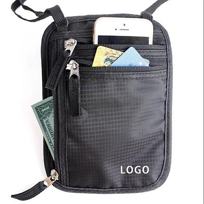 8163 RFID Nylon Neck Wallet/Passport Holder/Travel Pouch