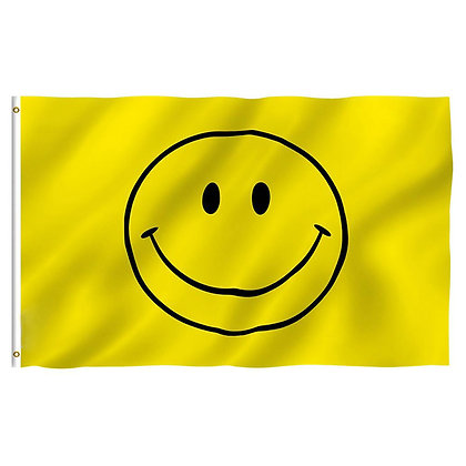6587 3 ft. x 5 ft. Polyester Yellow Smiley Face Flag