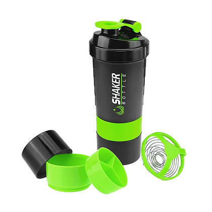 6340 3 Layer 500 ml Protein Shaker Bottle with 2 Storage Jar