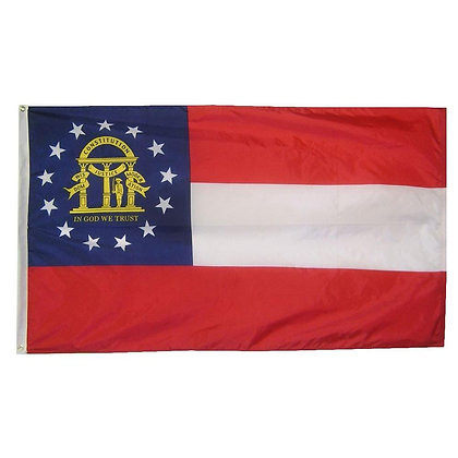 6464 Embroidered Georgia 3ft. x 5ft. Sewn Polyester Flag