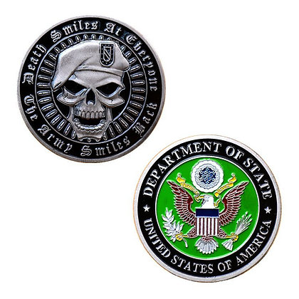 6191 1.5'' US army and Skull Medallion Challenge Coin