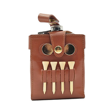 6249 6 oz. Brown Leather Wrapped Flask and Golf Tools