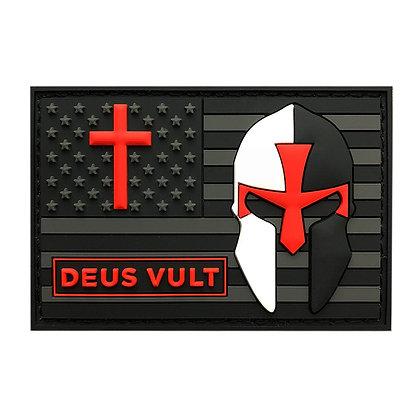 6516 Deus Vult Cross Helmet / American Flag PVC Patch