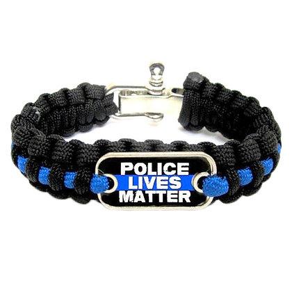 6486 Blue Lives Matter Thin Blue Line Paracord Survival Bracelet