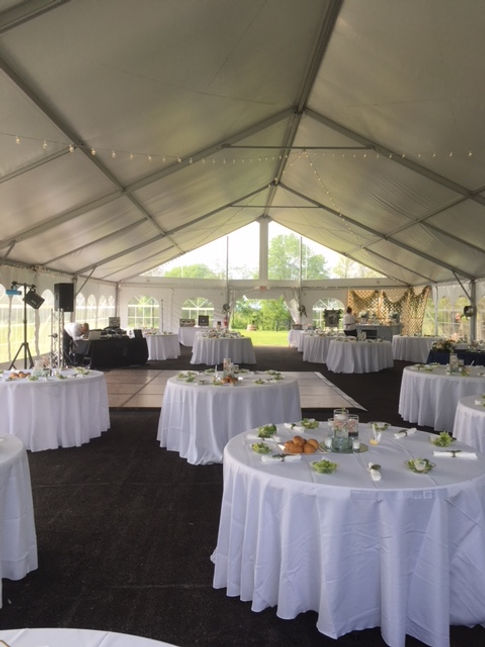 Here Is A Recent Wedding Reception In Our New White Tent With Skylights.  You May Decorate It As Lavishly Or Keep It More Simple, The Choice Is Yours.