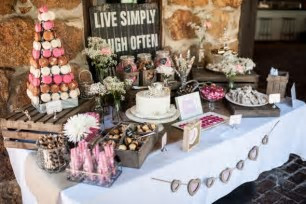 Rustic wedding in Detour, MD with a charming dessert table! Yummy.......