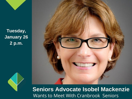 Come and meet with Isobel Mackenzie BC's Senior Advocate