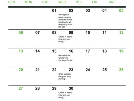 June Senior Centre Without Walls Schedule