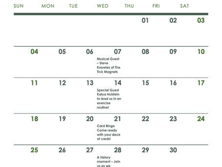 April Senior Centre Without Walls Schedule