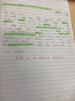 Zahra's fantastic writing!