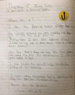 Hollie's fantastic sense poem!