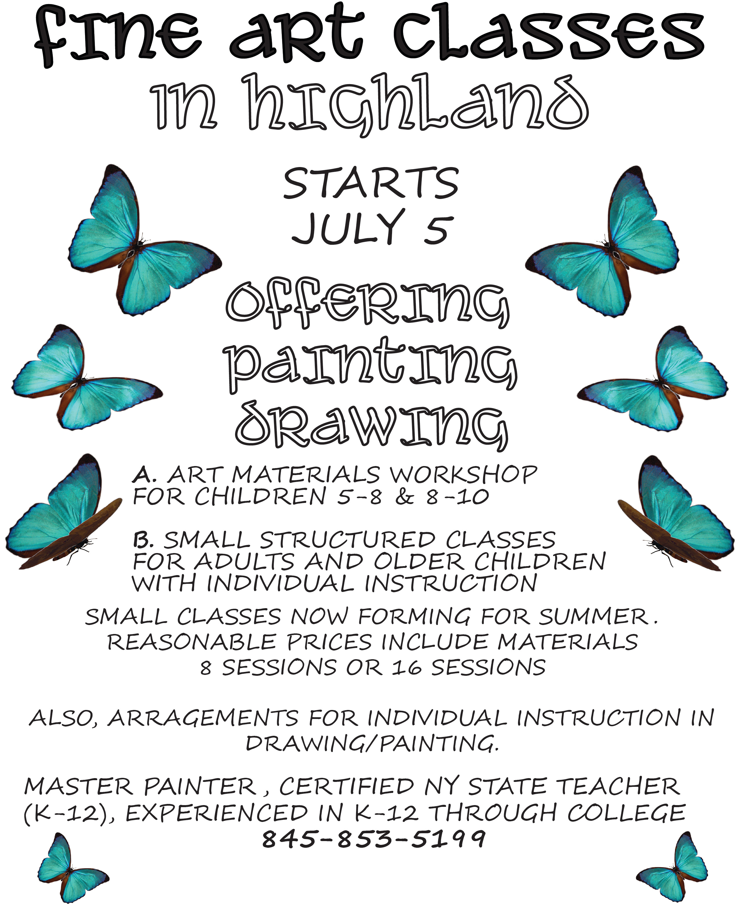 Flyer designed to advertise summer workshop