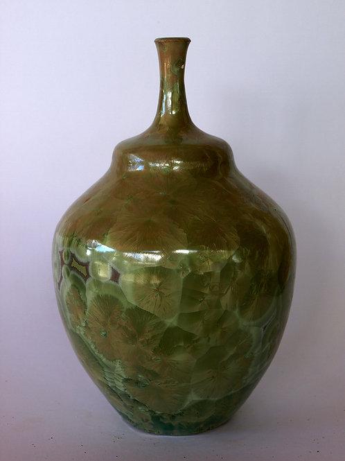 Jarrón Cristalización verde