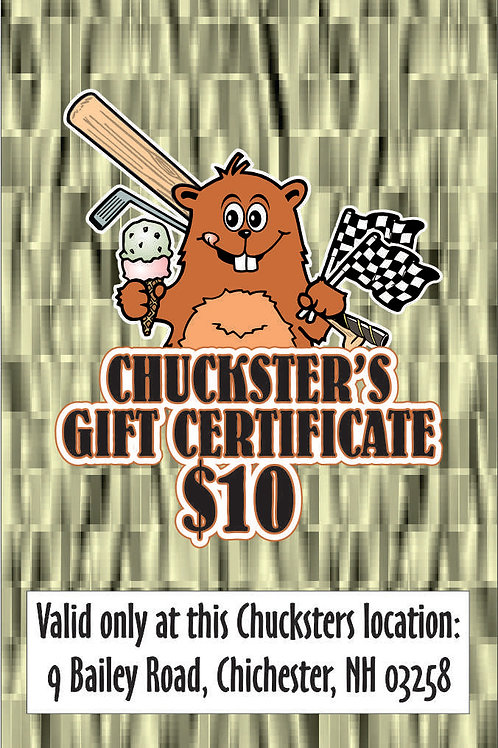 $10 Gift Certificate--Chichester or Alton Bay locations only