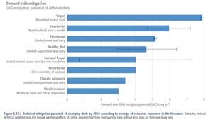 Las dietas basadas en plantas (veganas) son las que más potencial de mitigación tienen.