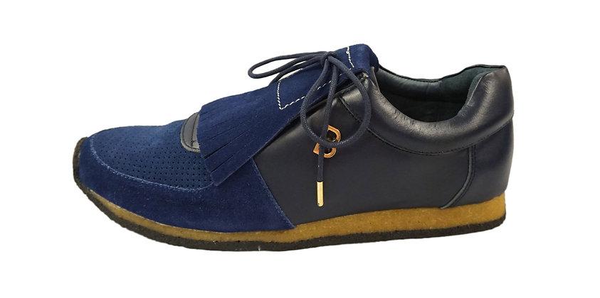 B. Walker Navy Blue+Blue Kilted Sneaker
