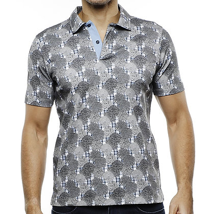 Men's Luchiano Visconti Gray stretch Polo shirt