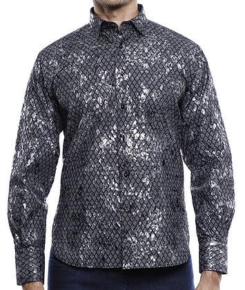 Luchiano Visconti Black button down mens designer shirt