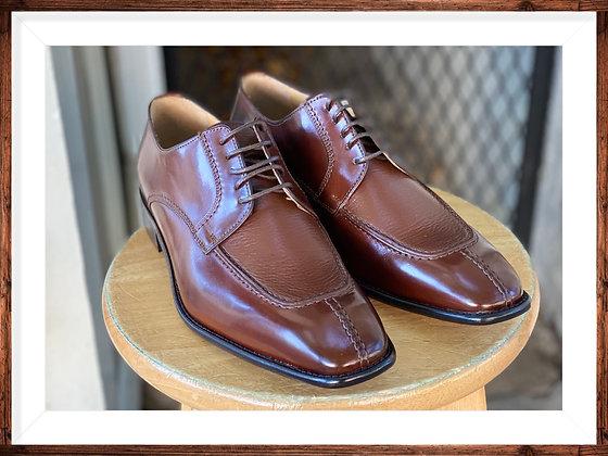 """Mahogany Italian Calfskin Split Toe Oxford Shoe by Calzoleria Toscana """"3796"""""""